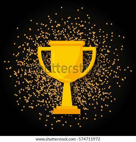 Gold Trophy Icon Over Black Background Colorful Design Vector Illustration