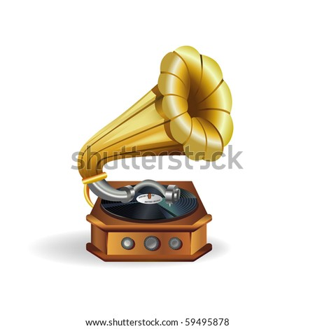 Gold vector gramophone