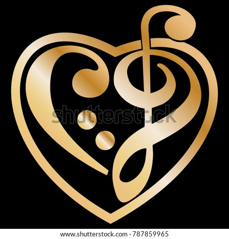 Gold Vector Heart Shaped Music Key Stock Vector 787859965 Shutterstock
