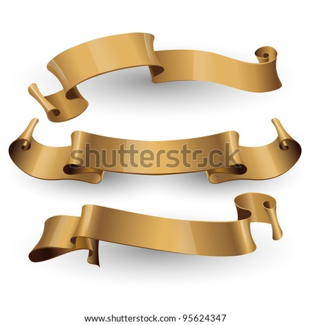 Gold vector ribbons on a white background for your design project. eps 10 - stock vector
