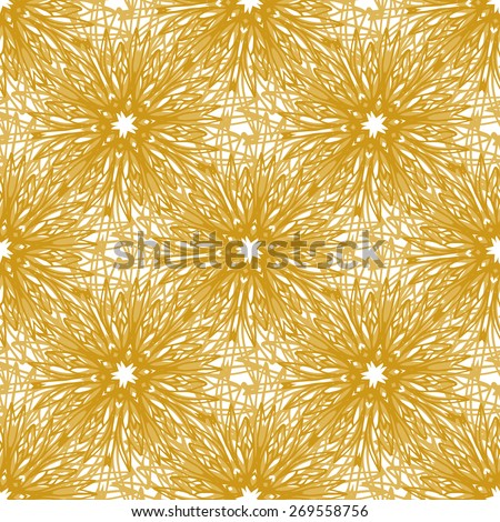Gold vector seamless pattern with bright firework flowers. Seamless texture for web, print, wallpaper,  wrapping, home decor, fashion print, wedding invitation background, textile design - stock vector