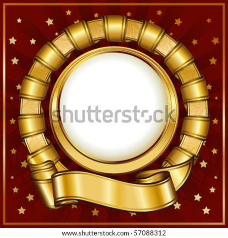 Gold vintage circle frame with ribbon - stock vector