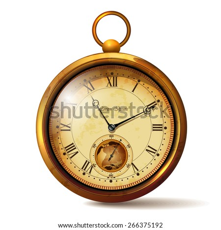 Gold vintage clock with roman numerals - stock vector