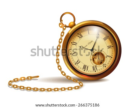 Gold vintage clock with roman numerals and chains. - stock vector