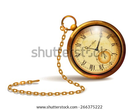 Gold vintage clock with roman numerals and chains - stock vector