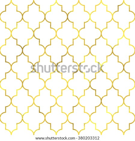Gold vintage foil ornamental arabic seamless pattern background