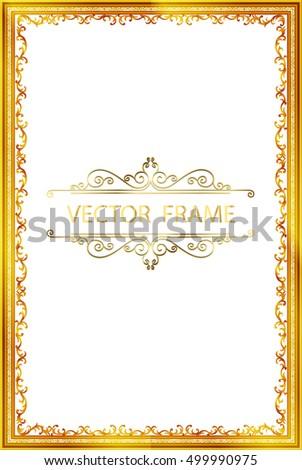 Gold Vintage Frame Decorative Vector Floral With Border Design
