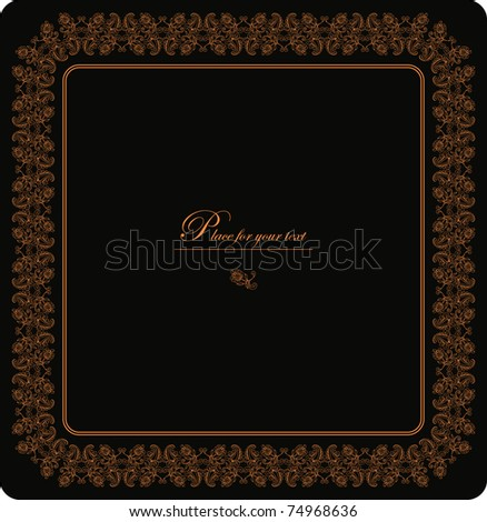 Gold vintage frame with floral patterns - stock vector