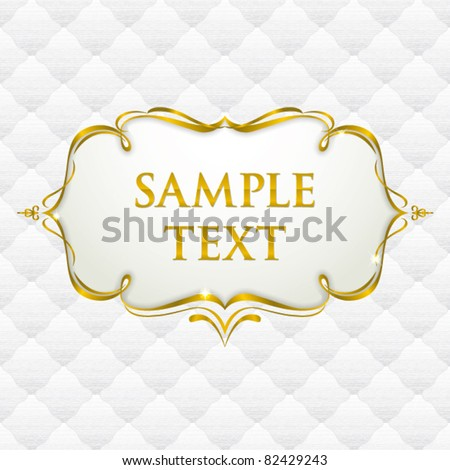 gold vintage frame with seamless upholstery texture - stock vector
