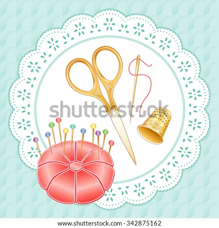 Gold Vintage Sewing Set, Pastels, engraved embroidery scissors, thimble, needle,  pincushion with straight pins on lace doily, aqua background for diy needlecraft, sewing, tailoring, textile arts.  - stock vector
