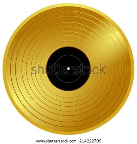 Gold Vinyl Music Award Golden Record Stock Vector