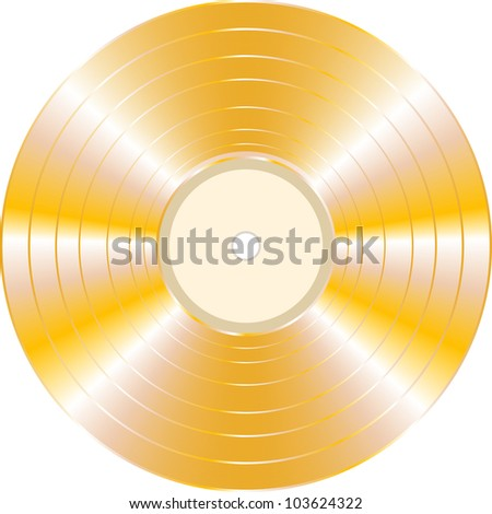 gold vinyl record isolated on white background. vector - stock vector