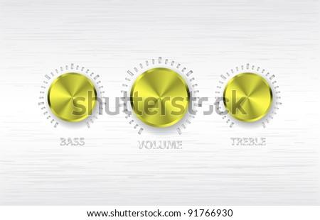gold volume treble bass knobs - stock vector