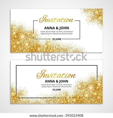 Gold wedding glitter invitation weddings background stock vector gold wedding glitter invitation for weddings background anniversary marriage engagement golden vector texture stopboris Images