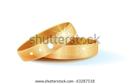 gold wedding rings - stock vector