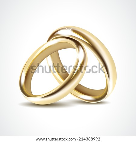 Gold Wedding Rings Isolated - stock vector