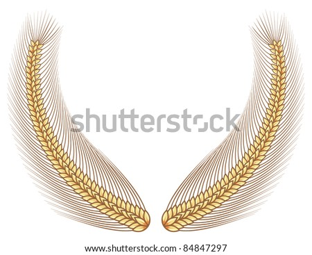 Gold wheat laurel - stock vector