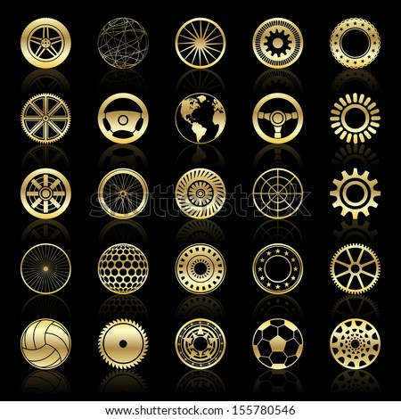 Gold wheels, gears, auto steering wheels, circular elements, abstract sphere - stock vector