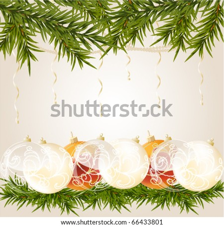 gold, white and transparent Christmas ball on christmas background, vector illustration - stock vector