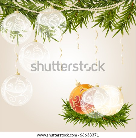 gold, white and transparent Christmas ball on christmas background, vector illustration