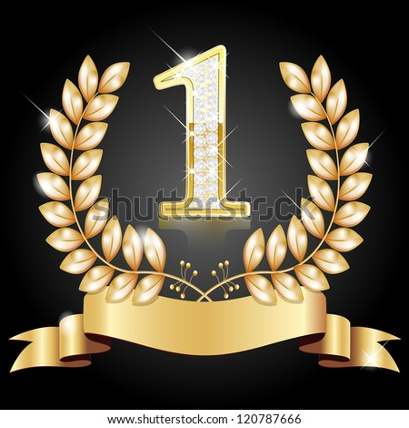 Gold wreath for the winner, number one with diamonds, ribbon - stock vector