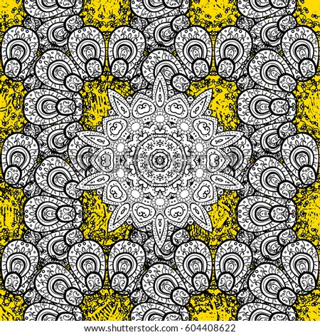 Gold Yellow Floral Ornament In Baroque Style Pattern Damask Background Golden Wallpaper