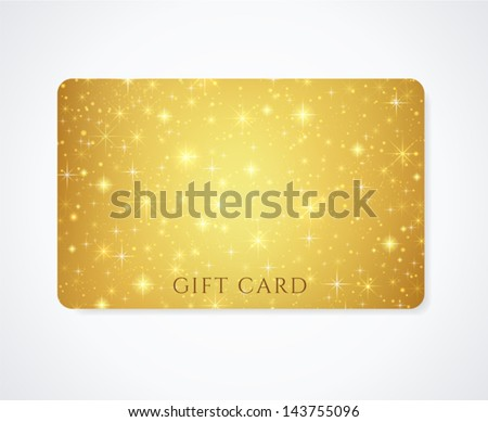 Gold (yellow, golden) Gift, Business card template with abstract pattern, sparkling, twinkling stars. Cosmic atmosphere (background). Universe. Design for discount card, invitation, ticket. Vector - stock vector