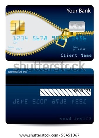 Gold zipper blue credit card - stock vector