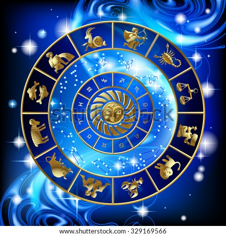 Gold zodiac circle with the signs and the constellations. Calendar cover design. Vector illustration - stock vector