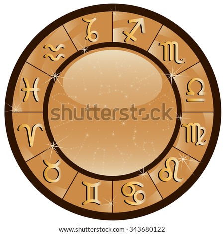 Gold zodiacal circle with zodiac signs