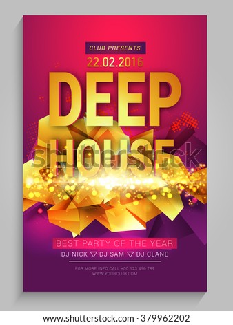 Golden abstract design decorated, Creative Flyer, Banner or Template for Best Musical Party celebration. - stock vector