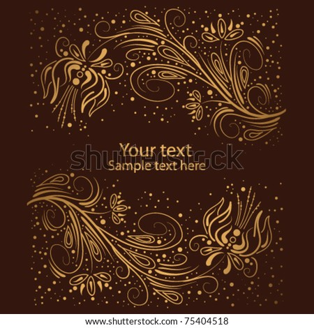 golden abstract floral background