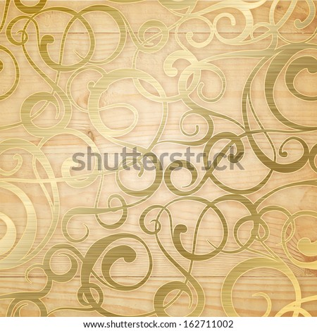 Golden abstract pattern on biege background. Vector illustration. - stock vector