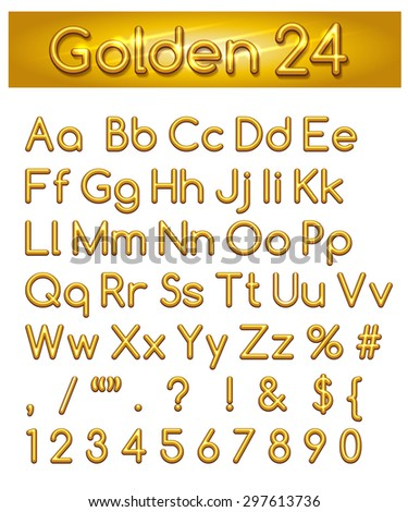 Golden alphabet. Letters, punctuation marks and numbers. Isolated on white background.