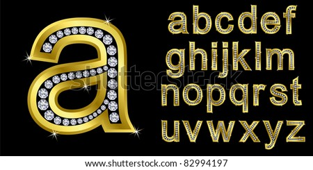 Golden alphabet with diamonds, letters from A to Z, vector illustration - stock vector