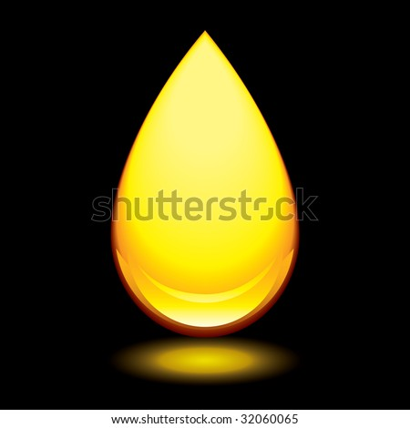 Golden amber droplet with outer glow and black background - stock vector