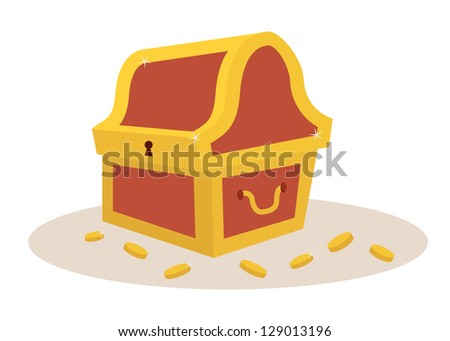 Golden and brown treasure chest for pirates - stock vector
