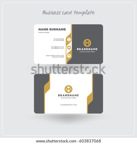 Golden gray business card print template stock vector hd royalty golden gray business card print template stock vector hd royalty free 603837068 shutterstock reheart Image collections