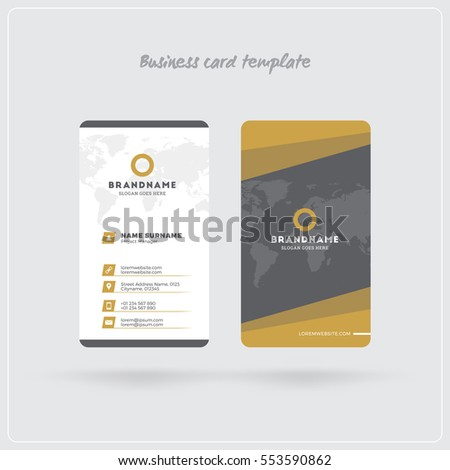 Golden gray vertical business card print stock vector royalty free golden and gray vertical business card print template double sided personal visiting card with reheart Gallery