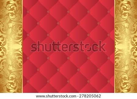 golden and red background with vintage ornaments - stock vector