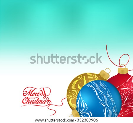 Golden and red christmas ornaments on white background with space for text. Merry christmas card. Winter holidays. Xmas theme - stock vector