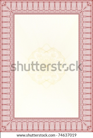 Golden and Red Classic guilloche border for diploma or certificate with protective  ornament / vector/ A4 vertical / CMYK color / Layers are separated! Editing is easy - stock vector