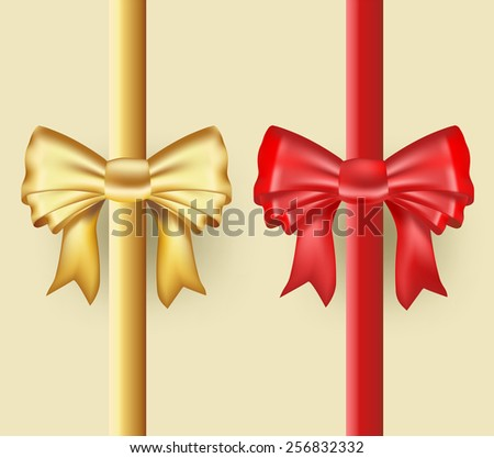 golden and red ribbons  - stock vector