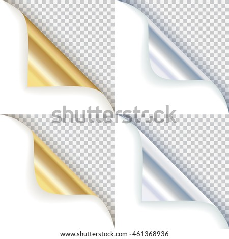 Golden and silver curled corners with transparent background