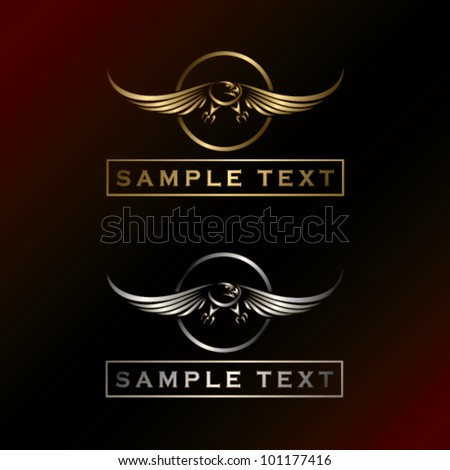 Golden and silver eagle label - vector illustration - stock vector