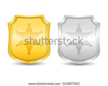 Golden and silver police badges, vector eps10 illustration - stock vector