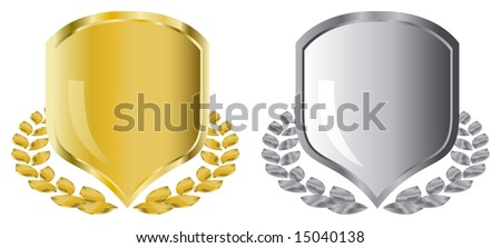golden and silver shields with laurel wreath - stock vector