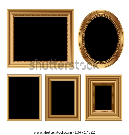 Golden antique frames for your pictures. Vector illustration - stock vector