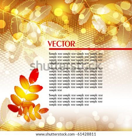 Golden autumn background. Vector - stock vector