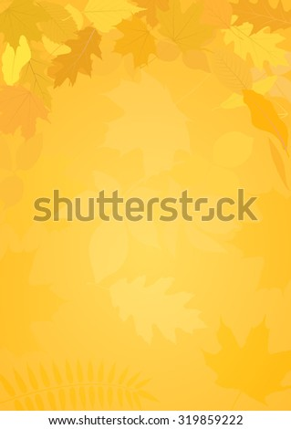 Golden autumn background with leaves - stock vector